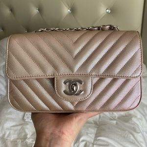 Chanel 17B iridescent rose gold mini